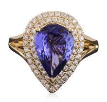 14KT Yellow Gold 3.24ct Tanzanite and Diamond Ring