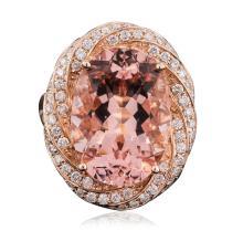 14KT Rose Gold 12.12ct Morganite and Diamond Ring