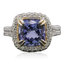 14KT Two-Tone Gold 4.29ct Tanzanite and Diamond Ring