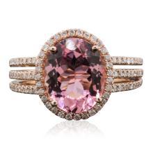14KT Rose Gold 3.16ct Tourmaline and Diamond Ring