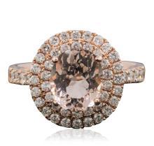 14KT Rose Gold 2.15ct Morganite and Diamond Ring