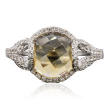14KT White Gold 3.55ct Citrine and Diamond Ring