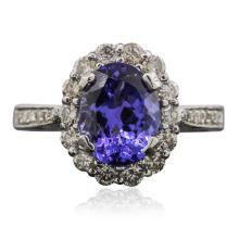 14KT White Gold 2.24ct Tanzanite and Diamond Ring