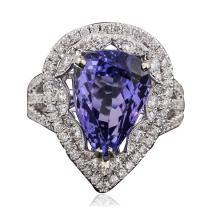 18KT White Gold 5.97ct Tanzanite and Diamond Ring