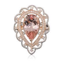 14KT Rose Gold 7.99ct Morganite and Diamond Ring