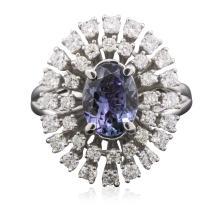 14KT White Gold 1.78ct Tanzanite and Diamond Ring