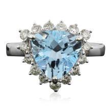 14KT White Gold 4.19ct Blue Topaz and Diamond Ring