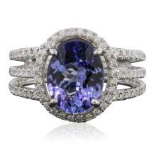 14KT White Gold 3.60ct Tanzanite and Diamond Ring