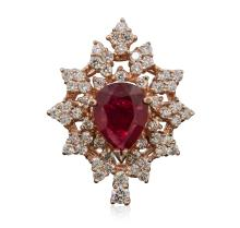 14KT Rose Gold 3.14ct Ruby and Diamond Ring