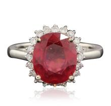 14KT White Gold 3.73ct Ruby and Diamond Ring