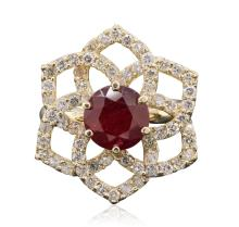 14KT Yellow Gold 3.11ct Ruby and Diamond Ring