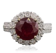 14KT White Gold 4.95ct Ruby and Diamond Ring