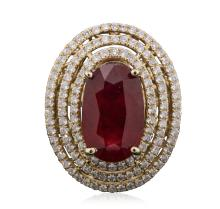 14KT Yellow Gold 8.09ct Ruby and Diamond Ring
