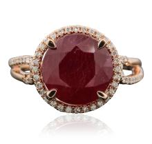 14KT Rose Gold 6.13ct Ruby and Diamond Ring