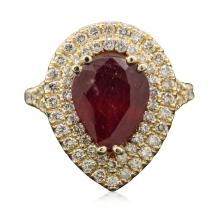 14KT Yellow Gold 4.29ct Ruby and Diamond Ring