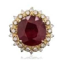 14KT Yellow Gold 7.29ct Ruby and Diamond Ring
