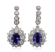 14KT White Gold 4.82ctw Tanzanite and Diamond Earrings