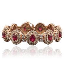 14KT Rose Gold 10.89ctw Ruby and Diamond Bracelet