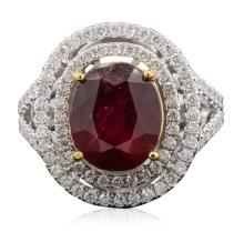 14KT Yellow and White Gold 6.63ct Ruby and Diamond Ring
