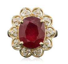 14KT Yellow Gold 6.29ct Ruby and Diamond Ring