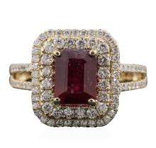 14KT Yellow Gold 3.06ct Ruby and Diamond Ring