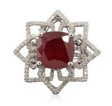 14KT White Gold 11.02ct Ruby and Diamond Ring
