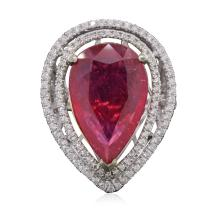 14KT Two-Tone Gold 16.79ct Ruby and Diamond Ring