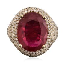 14KT Yellow Gold 11.18ct Ruby and Diamond Ring