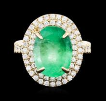14KT Yellow Gold GIA Certified 7.45ct Emerald and Diamond Ring