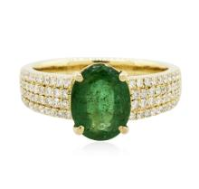 14KT Yellow Gold 1.52ct Emerald and Diamond Ring