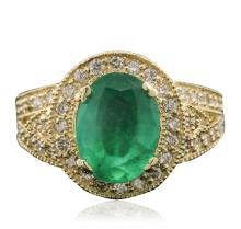 14KT Yellow Gold 2.81ct Emerald and Diamond Ring