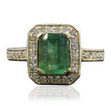 14KT Yellow Gold 1.57ct Emerald and Diamond Ring