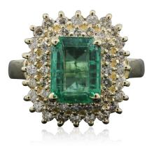 14KT Yellow Gold 1.96ct Emerald and Diamond Ring