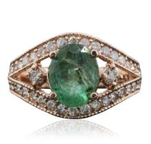 14KT Rose Gold 2.01ct Emerald and Diamond Ring