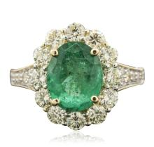 14KT Yellow Gold 2.48ct Emerald and Diamond Ring