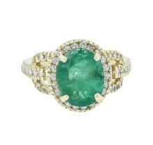 14KT Yellow Gold 2.84ct Emerald and Diamond Ring
