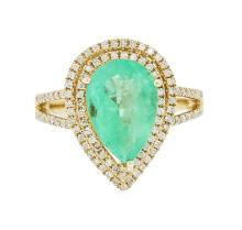 14KT Yellow Gold 2.88ct Emerald and Diamond Ring