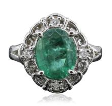 14KT White Gold 2.23ct Emerald and Diamond Ring