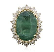 14KT Yellow Gold 18.05ct GIA Certified Emerald and Diamond Ring
