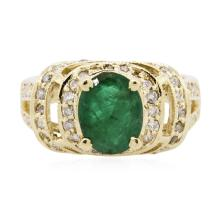 14KT Yellow Gold 1.64ct Emerald and Diamond Ring