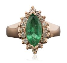 14KT Rose Gold 1.59ct Emerald and Diamond Ring