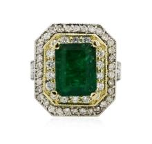 14KT Two-Tone 3.67ct Emerald and Diamond Ring