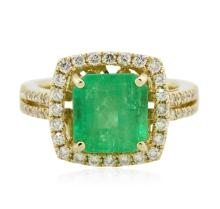 14KT Yellow Gold 3.42ct Emerald and Diamond Ring