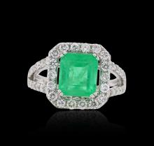 18KT White Gold 2.68ct Emerald and Diamond Ring