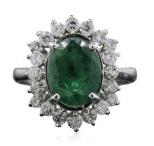 14KT White Gold 2.73ct Emerald and Diamond Ring