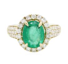 14KT Yellow Gold 2.13ct Emerald and Diamond Ring