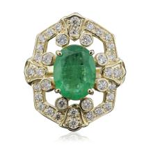 14KT Yellow Gold 2.85ct Emerald and Diamond Ring