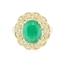 14KT Yellow Gold 4.10ct Emerald and Diamond Ring