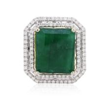 14KT Two-Tone Gold 13.38ct Emerald and Diamond Ring