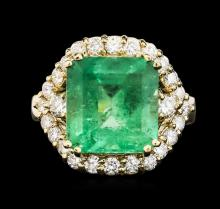 14KT Yellow Gold GIA Certified 7.04ct Emerald and Diamond Ring